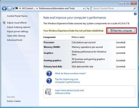 windows 10 experience index