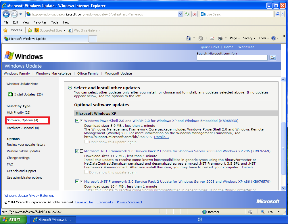 how to clean windows update cache windows xp