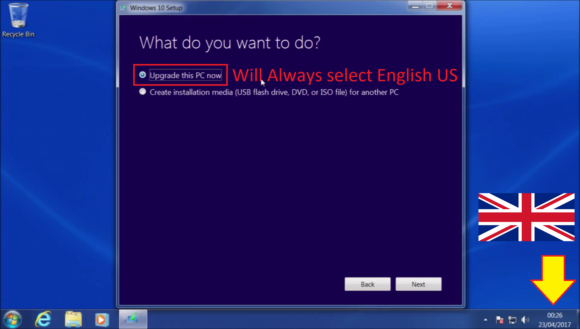 The Initial upgrade from Windows 7 or Windows 8 1 to Windows